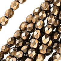 Czech Fire Polished Glass Beads 4mm Round Full Pearlized - Champagne On Jet (50)