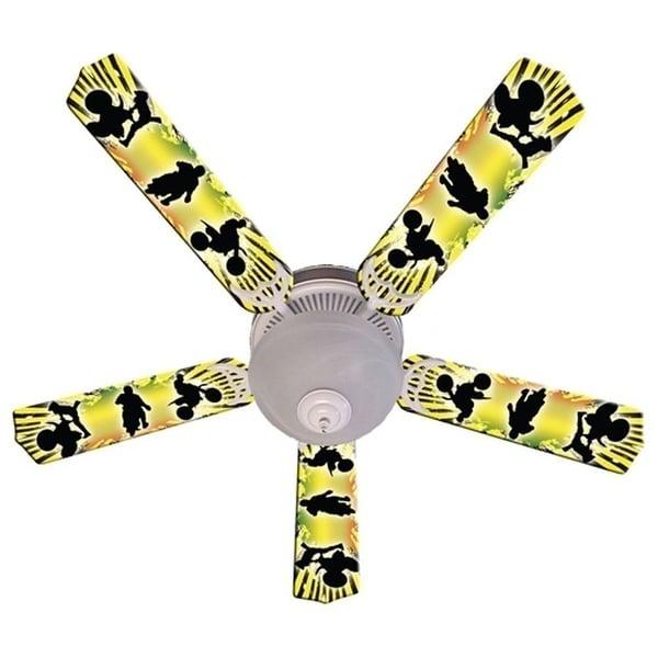 Yellow Motocross Print Blades 52in Ceiling Fan Light Kit - Multi