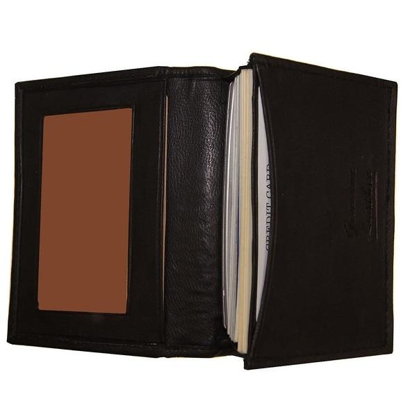 Improving Lifestyles Leather Mens Wallet Bifold Black Small Credit Card Holder Window ID FREE Organza Gift Bag SUN020BK