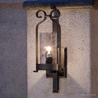 "Luxury Tuscan Outdoor Wall Light, 21""H x 8""W, with  Farmhouse Style Elements, Midnight Black Finish by Urban Ambiance"