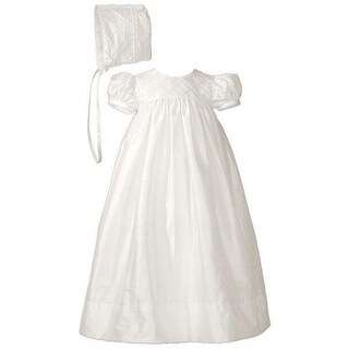 Baby Girls White Silk Lattice Bodice Short Sleeve Hat Christening Gown