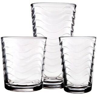 Palais Glassware 'Vague' Collection, Wave Glasses Set - (Set of 12)