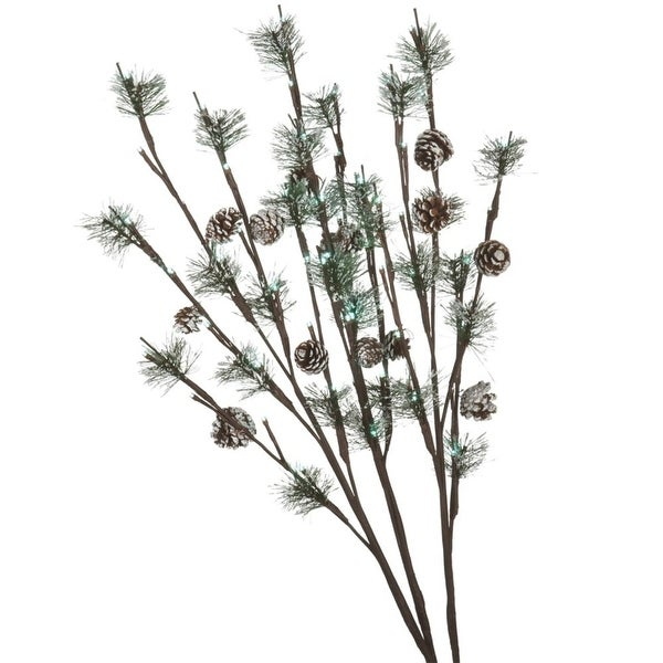 """Set of 3 LED Lighted Frosted Artificial Pine and Pine Cone Christmas Twig Branches 30"""""""