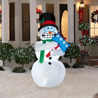 Gemmy 86235 AirBlown Christmas Lights-Up Animated Shivering Snowman w/Sign, 6'