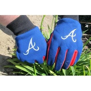 Officially Licensed MLB No Slip Gardening / Work / Utility Glove With Team Logo Baseball Atlanta Braves