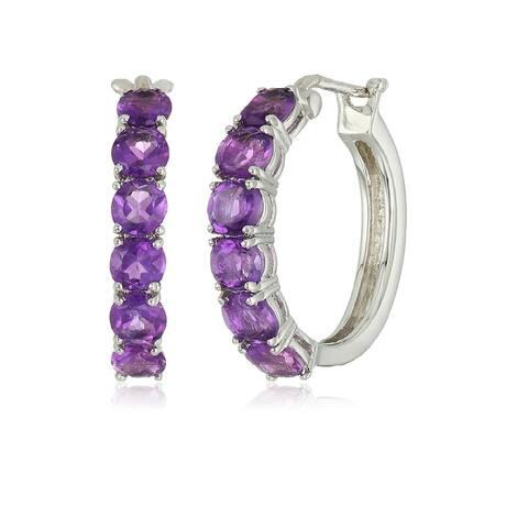 925 Sterling Silver African Amethyst Hoop Earring