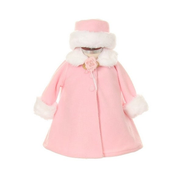 ef08e79ef Shop Kids Dream Pink Fleece Faux Fur Collar Stylish Coat Baby Girl 6-24M -  Free Shipping On Orders Over $45 - Overstock - 23079632