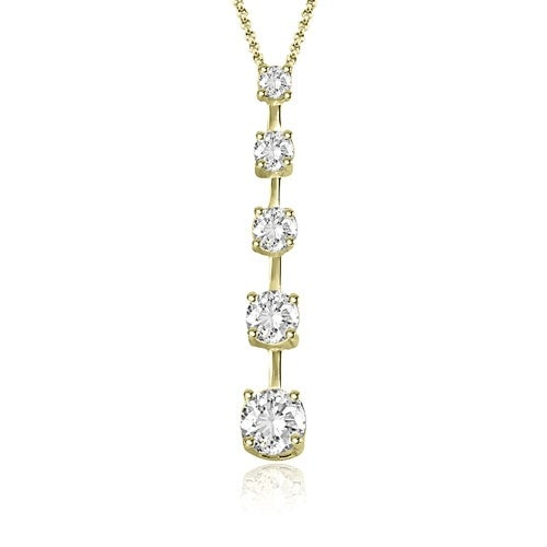 1.00 cttw. 14K Yellow Gold Round Cut Diamond Five-Stone Journey Pendant