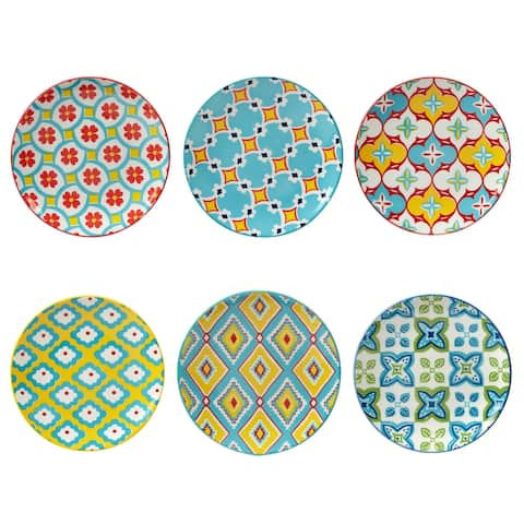 Certified International Damask Floral Canape/Luncheon Plates, Set of 6