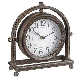 Link to Foreside Home & Garden Round Rustic Metal Battery Operated Table Clock - 3.5x9.75x9 Similar Items in Decorative Accessories