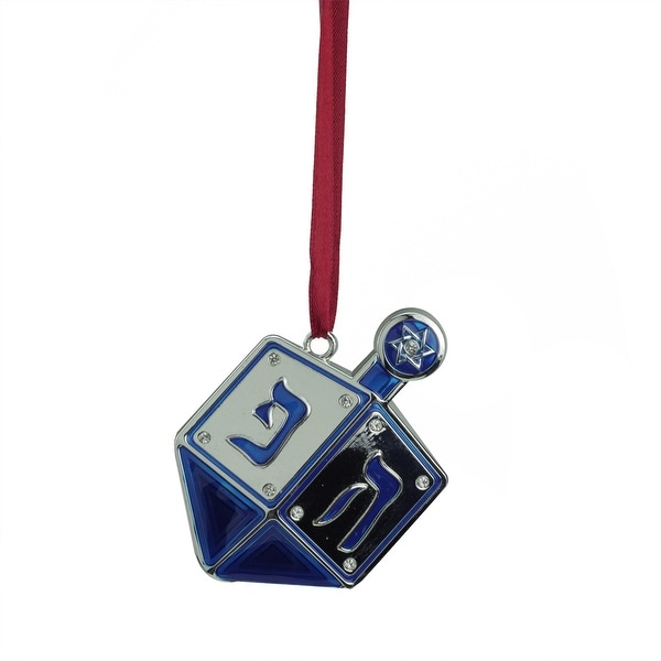 """3"""" Blue and Silver Dreidel Hanukkah Holiday Ornament with European Crystals. Opens flyout."""