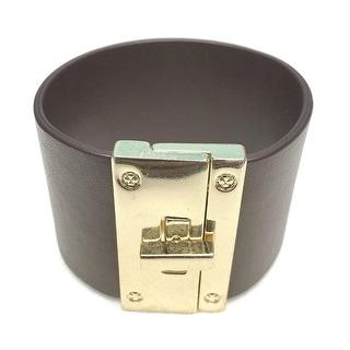 Potissi Wide Metal Genuine Leather Bracelet