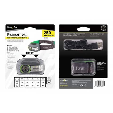 Nite Ize R250RH-17-R7 Radiant LED Head Lamp, Green/Grey, 250 Lumens