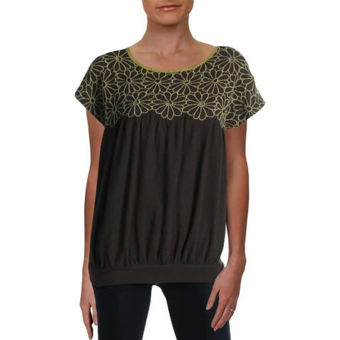Free People Womens Georgia Bubble Pullover Top Embroidered Eyelet - Bitter Olive - L