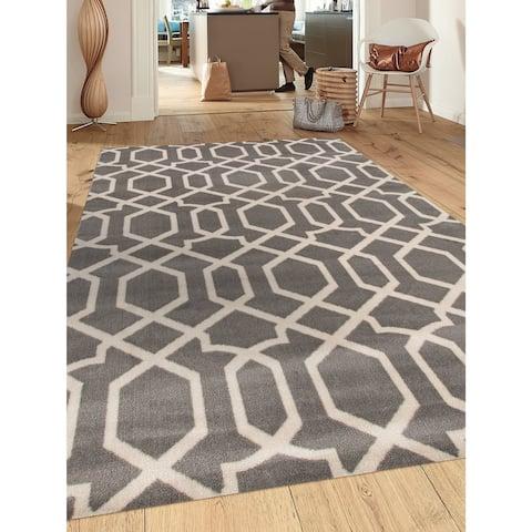 Contemporary Trellis Design Soft Indoor Area Rug