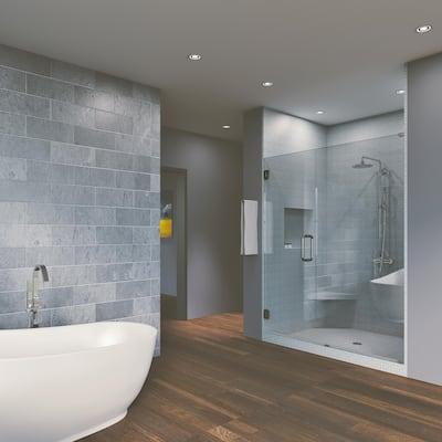 """46.50'' x 80"""" Hinged Frameless Shower Door & Panel Reversible"""