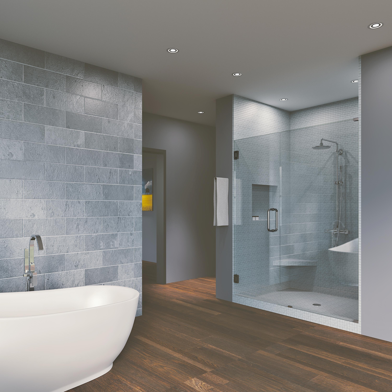 57 50 X 76 Hinged Frameless Shower Door Panel Reversible Overstock 30895160