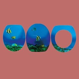Bathroom Toilet Seat Sea Fish Elongated Chrome Hinge