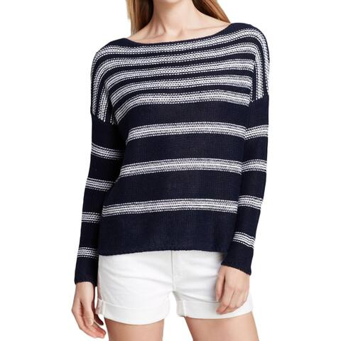 Vince Womens Pullover Sweater Linen Striped - White Combo Blue - S
