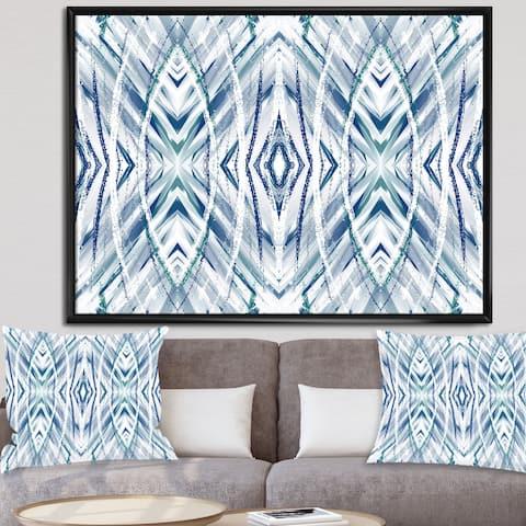 Designart 'Blue Streaks II' Mid-Century Modern Framed Canvas Wall Art