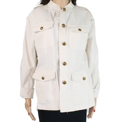 Lauren by Ralph Lauren Women's Jacket Beige Size 10 Denim Military