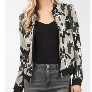 Womens Camouflage Slim Jacket Coat +Gift Necklace