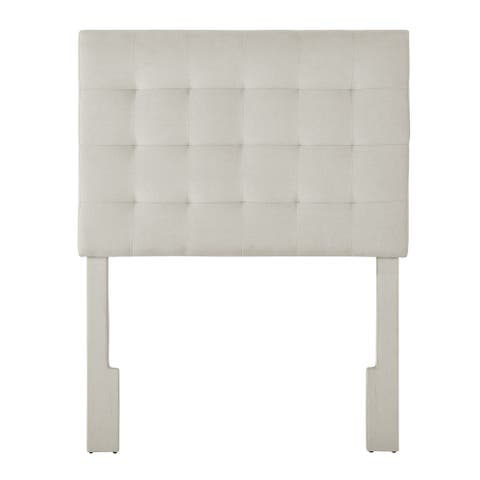 Mid-Century Modern, Grid Tufted Twin Upholstered Headboard in Fog Gray