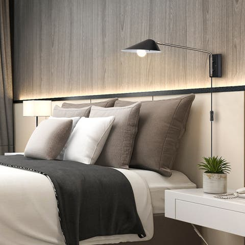 Finnick 1-Light Matte Black Plug-In or Hardwire Wall Sconce LED Bulb