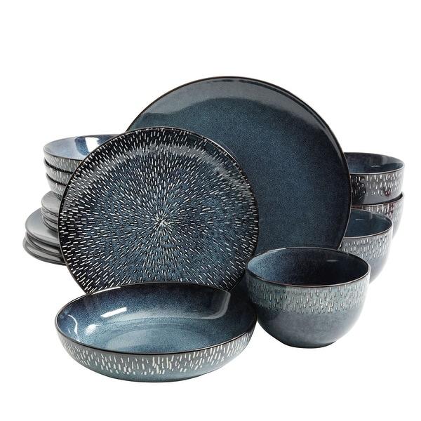 Gibson Elite Matisse 16-Piece Double Bowl Dinnerware Set, Cobalt. Opens flyout.