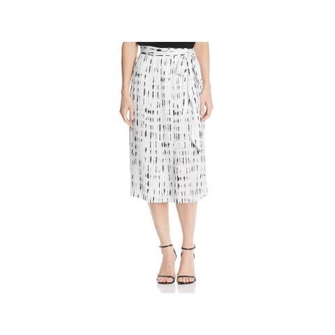 Kenneth Cole New York Womens Pleated Skirt Printed Below Knee