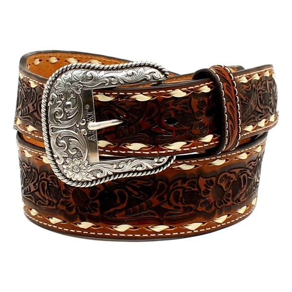 Ariat Western Belt Mens Embossed Floral Whip Stitching Tan