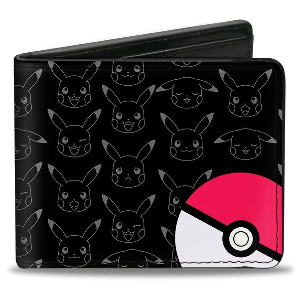 Pok Ball Pikachu Outline Expressions Black Gray Bi Fold Wallet - One Size Fits most