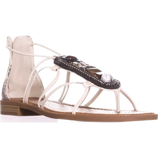 Nine West Grinning Zip Beaded Dress Sandals, Off White Black/Off White