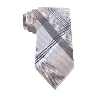 Geoffrey Beene Plaid Instinct Classic Silk Blend Necktie Light Brown Tie - One Size Fits most