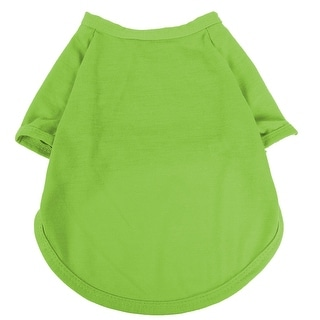 Pet Dog Cotton Blend Round Collar Short Sleeve T-Shirt Vest Apparel Green Size S