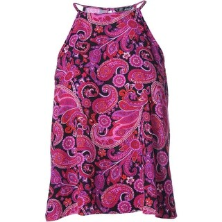Aqua Womens Paisley Sleeveless Pullover Top