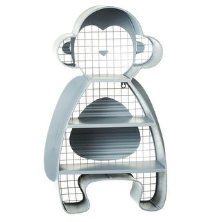 28.375 Silver Metallic Monkey Decorative Wall Mounted Decor Cubby