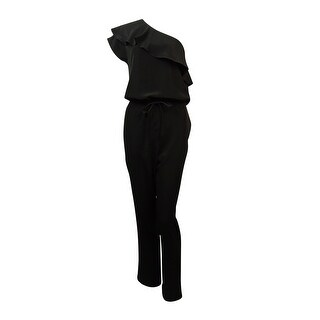Kenneth Cole Women's 'Venus' Ruffled One Shoulder Jumpsuit - Black
