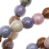 Czech Glass Beads, Round Druks 6mm, 1 Strand, Opaque Luster Mix