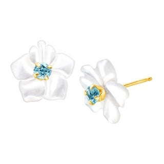 1/10 ct Natural Blue Topaz and Mother-of-Pearl Stud Earrings in 14K Gold