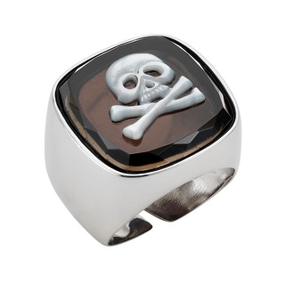 Zoccai 925 Onyx and Mother-of-Pearl Skull Ring in Sterling Silver - Black