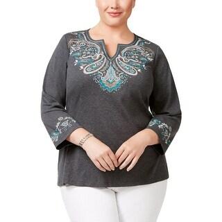 Karen Scott Womens Plus Casual Top Cotton Embroidered