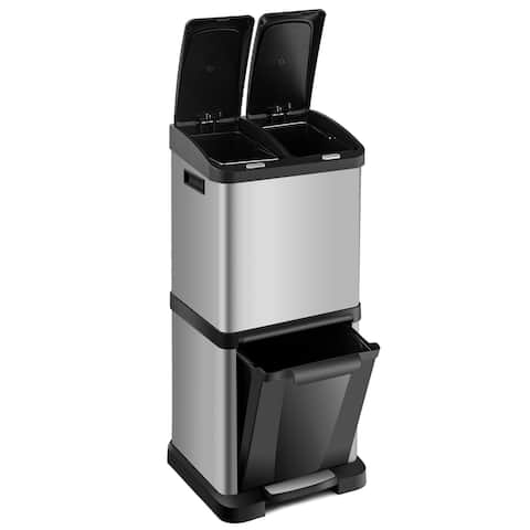 8.5 Gallon Classified Step Trash Can Waste Bin Stainless Steel 3