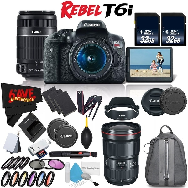 Canon Rebel T6i DSLR Camera w/ 18-55mm Lens International Version (No Warranty) + Canon EF 16-35mm Lens + Accessories Bundle