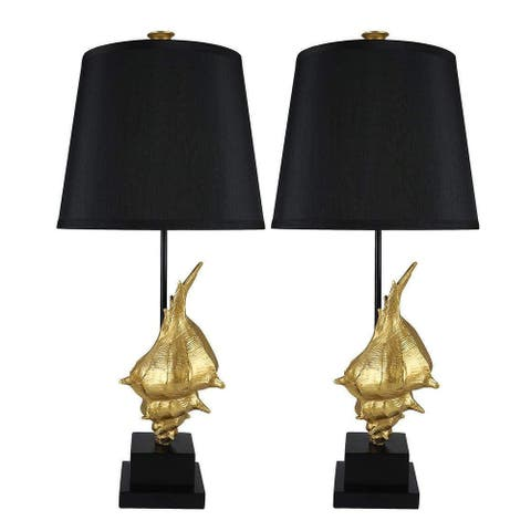 Set of 2 Conch Designer Table Lamps, 24.5 inch Tall