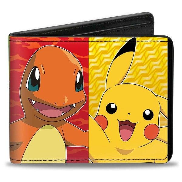 Pikachu & Kanto Starter Pokmon Type Panels Bi Fold Wallet - One Size Fits most
