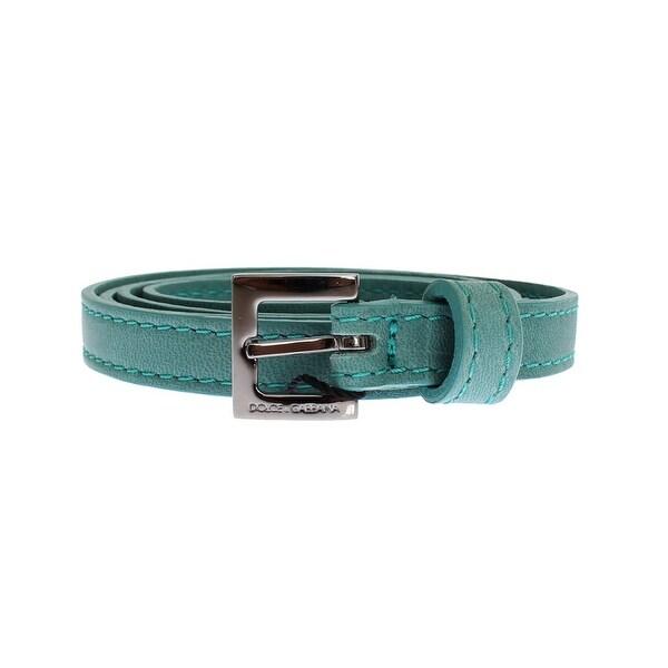 Dolce & Gabbana Green Leather Silver Buckle Logo Belt