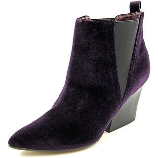 Report Signature Myrna Women Pointed Toe Canvas Purple Bootie