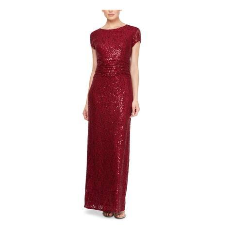 SLNY Womens Red Short Sleeve Full-Length Sheath Evening Dress Size 8