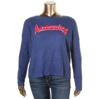 Hooked Up by IOT Womens Juniors Pullover Sweater Ribbed Knit Slogan - XL